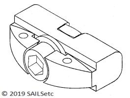 Boom track slide - SAILSetc spar - adjustable swivel attachment