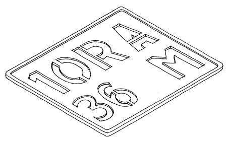 M, 36, 10, A  - insignia stencil